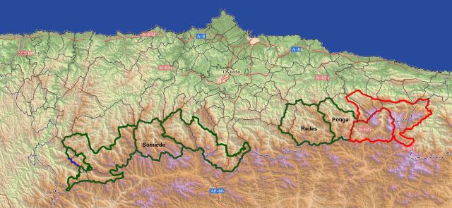 Espacios protegidos de la montaña asturiana. Etiquetados algunos ejemplos que incluyen municipios enteros.
